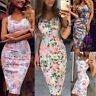 New Women Floral V-neck Wrap Boho Backless Split Dress Sexy A-Line Party Skirt