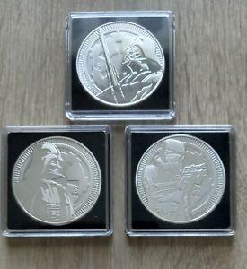 3 x 1 oz Silbermünze Star Wars Jahrgang 2017 und 2x 2018