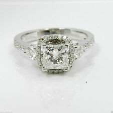 1.72 cts Princess Cut Solitaire Diamond Engagement Ring Solid 14k White Gold