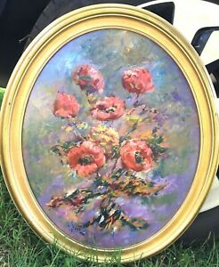 Vintage Original OvalFramed Floral Impressionistic Painting on Masonite - Signed