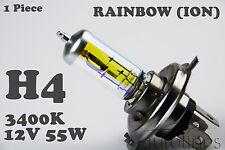 1 x H4 RAINBOW ION 60W / 55W 3400K 12V Yellow Halogen Head Light Globes Bulbs