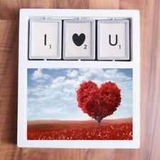 """'I HEART U' PICTURE FRAME 4"""" x 6"""" Photo Stand Family Love Valentines Day Present"""