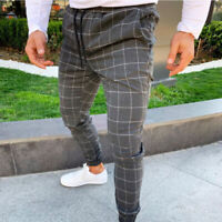 Men's Casual Slim Fit Trousers Skinny Tartan Lattice Plaid Stretch Pencil Pants