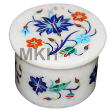 Marble Jewelry Box Round Inlay Gem Stones Trinket Jewellery Boxes Vintage Mosaic