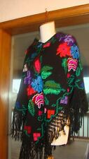 Vintage Mexican Ethnic Quechquemitl Triangle White Fringed Poncho Shawl Wool S/M