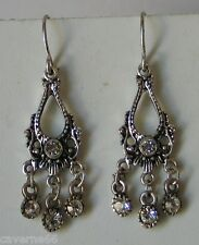 ANCIEN BIJOU BOUCLES D'OREILLES métal argenté strass EARRINGS # b150