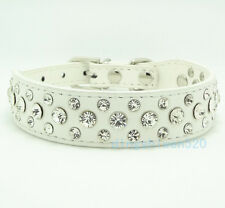 White Bling Rhinestone Crystal Diamond Pet Dog Cat Puppy Leather Collar S M L XL
