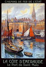 Chemin de Fer de l'etat Cote d'emeraude le Port St Malo A3 Stampa Artistica Poster