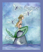 DRAGONFLY Mermaid print from Original Painting By  Camille Grimshaw