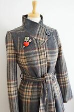 PER UNA 1940's inspired vintage coat uk size 8 10 plaid check grey tartan wool