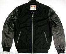 Levi's Leather & Wool Blend Varsity Jacket Black Levi Strauss  Levis MSRP $298