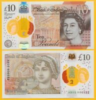 England 10 Pounds p-395 2017 UNC Polymer Banknote