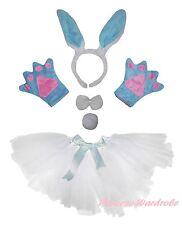 Easter Party Blue Bunny Rabbit Headband Paw Tail Bow Gauze Skirt Kids Costume 5P