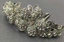 Sparkling beautiful silver tone rhinestone crystal flower hair clip barrette 217