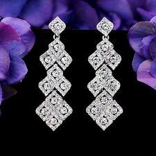 Rhodium Plated Clear Crystal Rhinestone Chandelier Drop Dangle Earrings 7986 New