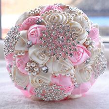 Romantic Wedding Rose Flower Bridal Bouquet Pearls Silk Pink flowers