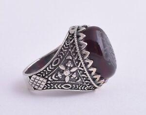 Yemeni Yemen kabdi Islamic agate aqeeq aqiq Silver Men Ring- عقيق كبدي