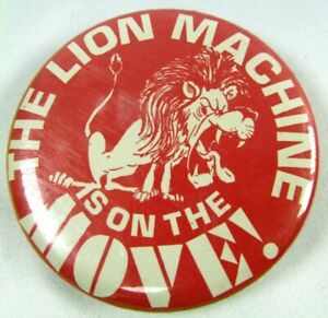 Vintage Lincoln Roaring LION Machine Is On The Move Pin Back Button basketball