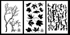 "3Pack! Spray Paint Camouflage Stencils 14"" treeBark - Leaf Maple - Gnarly Branch"