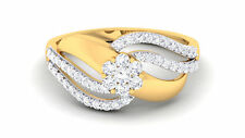 0.64 Cts Round Brilliant Cut Natural Diamonds Anniversary Ring In Solid 18K Gold