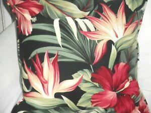 Tropical Hawaiian Cotton Barkcloth Fabric CORDED PILLOW ~Pua-Black~