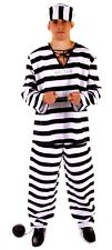 Convict Prisoner Costume & Ball Chain Fancy Dress Costume Outfit