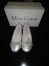 MISS GRANT BALLET SILVER LEATHER FLATS SHOES NEW SIZE EUR34 US2.5