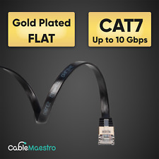 CAT7 Ethernet Cable Patch FLAT LAN Gold Plated U/FTP Shielded RJ45 6-100FT Lot
