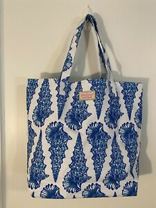 """Lilly Pulitzer for Estee Lauder Blue White Shells Tote 14""""x16""""  Free Shipping"""