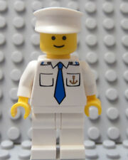 LEGO Minifig Cruise SHIP CAPTAIN Officer Sailor Gold Anchor on Torso White Hat