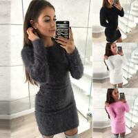 Women's Winter Long Sleeve Solid Sweater Fleece Warm Basic Short Mini Dress