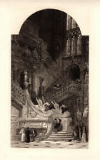 """WILLIAM ROBERTS 1800s Antique Etching """"Burgos Cathedral Sacred Staircase"""" COA"""