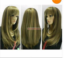 FIXSF393 pretty charming long brown mix straight Hair health wigs for Women Wig