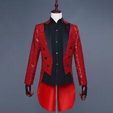 Men Tuxedo Bling Sequins British Jacket Formal Tail Coat Dress Club Dance Blazer