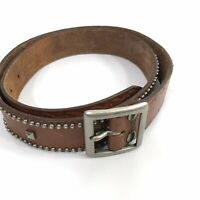 American Eagle Womens Large Belt Brown Leather Metal Studs Silvertone Buckle
