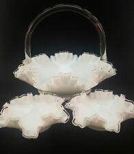 3 pc White Milk Glass Fenton Basket Dish Set Reed Handle Ruffled Ribbon Edge