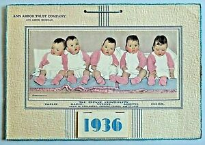 Advertising Calendar 1936 The Dionne Quintuplets Unused NOS Ann Arbor Trust Co.