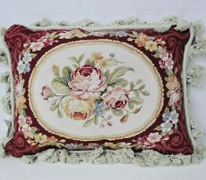 Needlepoint Pillow Rose Bouquet Garland Red Cushion Cover Wool Pillowcase 12x16