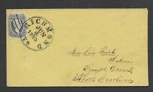 """US CSA 10c Scott #11 """"reused stamp"""" Richmond VA to Salem NC 6-4-1863 nice strik"""