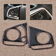 2pcs Carbon Fiber  Steering Wheel Button Cover Trim Fit For For Honda Civic 2016