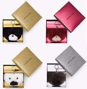 Michael Kors Teddy Bear Pom Fur Key Chain Toy Fob Bag Charm Black/White/Brown