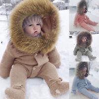 Winter Infant Baby Boy Girl Windproof Romper Jumpsuit Knit Warm Outerwear Gifts