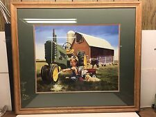 Donald Zolan CLEAN SHINY John Deere Tractor Print Signed Rare Little Farm Hands