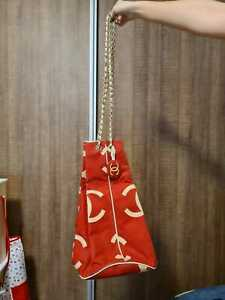 Chanel red canvas large duffle bag drawstring graffitti cambon vintage authentic