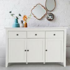 White Buffet Solo Matt Chest 3doors 3 Drawer Cabinet Sideboard Cupboard