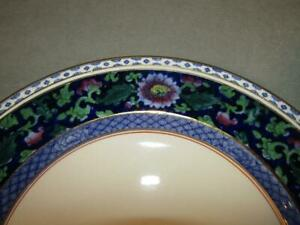 """SET 6 BOOTH'S ENGLISH CHINA 9"""" DINNER PLATES - JACOBEAN PAT. - BLUE FLORAL"""