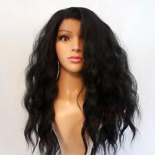 """Synthetic Lace Front Hand Tied Wavy Black Wig 22"""""""