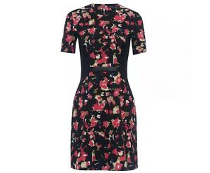 New French Connection Bella Ottoman Floral Multi Dress Size UK 14