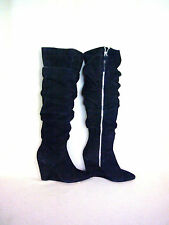 Rebecca Minkoff Over the Knee Black Suede Slouch Shaft Wedge Boots, sz 6, New
