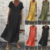 ZANZEA Femme Couleur Unie Casual Col V Manche Courte Plage Robe Dresse Maxi Plus